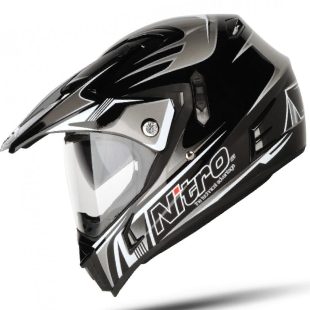 Nitro Mx650 Ion Black Gun Dual Sport Motorcycle Adventure Helmet