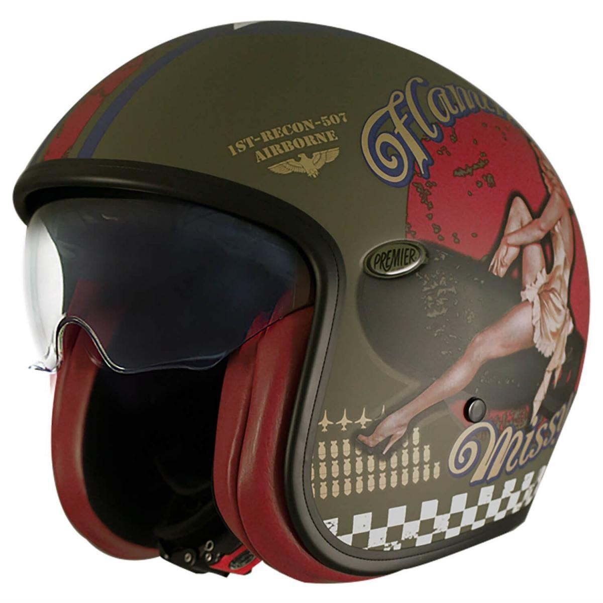 Premier Vintage Pin Up Military Tri Composite Scooter Cruiser Motorcycle Helmet Ebay